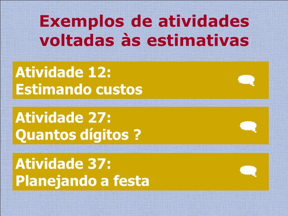 Exemplos de atividades voltadas às estimativas Atividade 12: Estimando custos Atividade 27: Quantos dígitos ? Atividade 37: Planejando a festa
