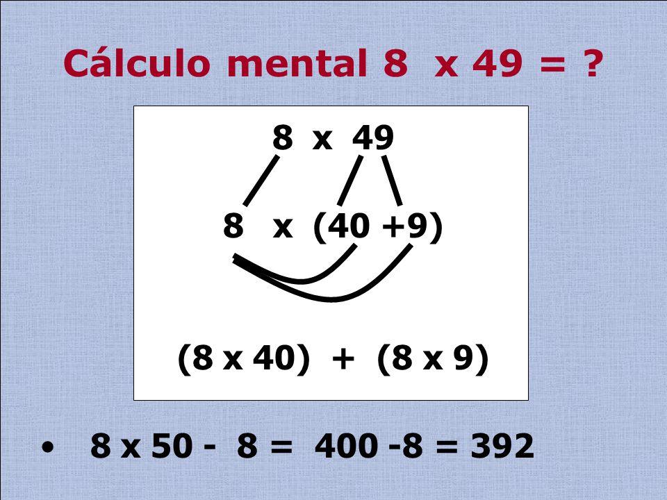 Sabemos que no cálculo mental a memorização acaba tornando-se importante.