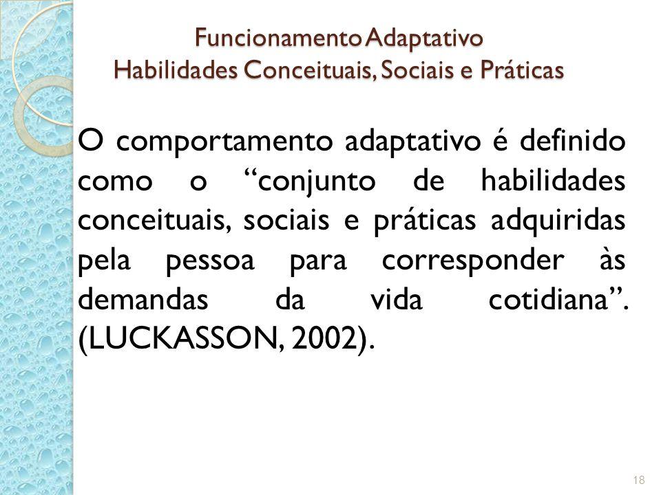 Funcionamento Adaptativo Habilidades Conceituais, Sociais e Práticas O comportamento adaptativo é definido como o conjunto de habilidades conceituais, sociais e práticas adquiridas pela pessoa para corresponder às demandas da vida cotidiana.