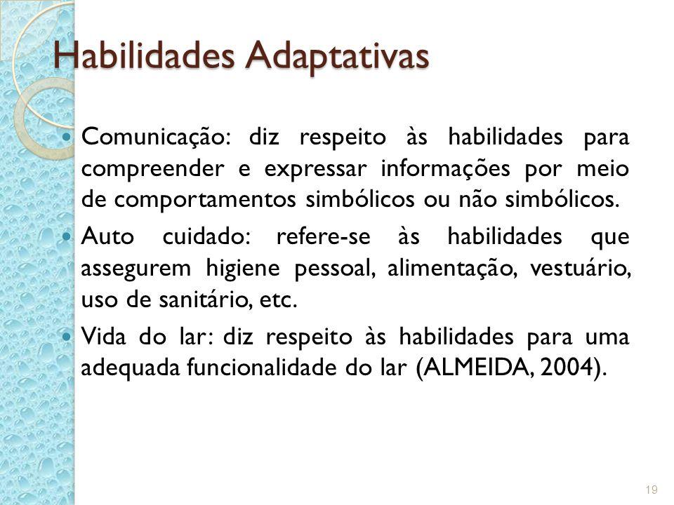 Habilidades Adaptativas Comunicação: diz respeito às habilidades para compreender e expressar informações por meio de comportamentos simbólicos ou não