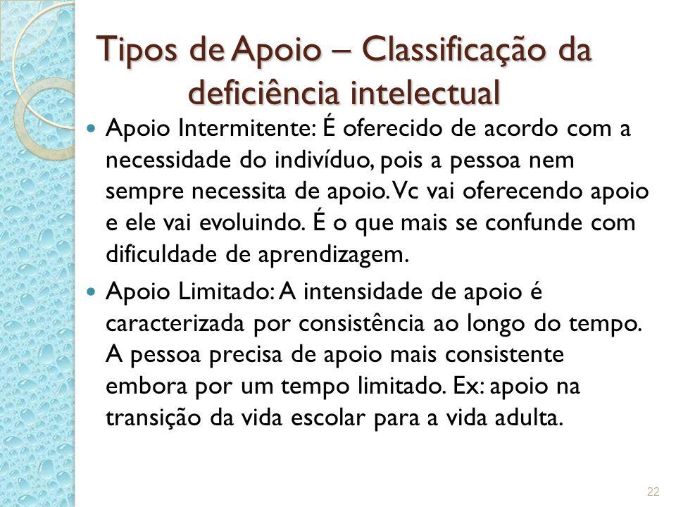 Tipos de Apoio – Classificação da deficiência intelectual Apoio Intermitente: É oferecido de acordo com a necessidade do indivíduo, pois a pessoa nem