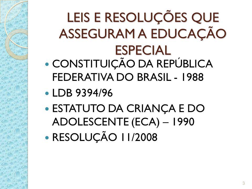 LEIS E RESOLUÇÕES QUE ASSEGURAM A EDUCAÇÃO ESPECIAL CONSTITUIÇÃO DA REPÚBLICA FEDERATIVA DO BRASIL - 1988 LDB 9394/96 ESTATUTO DA CRIANÇA E DO ADOLESCENTE (ECA) – 1990 RESOLUÇÃO 11/2008 3