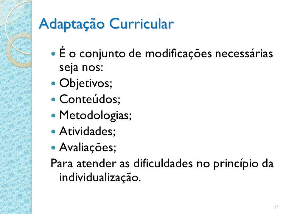 Adaptação Curricular É o conjunto de modificações necessárias seja nos: Objetivos; Conteúdos; Metodologias; Atividades; Avaliações; Para atender as dificuldades no princípio da individualização.