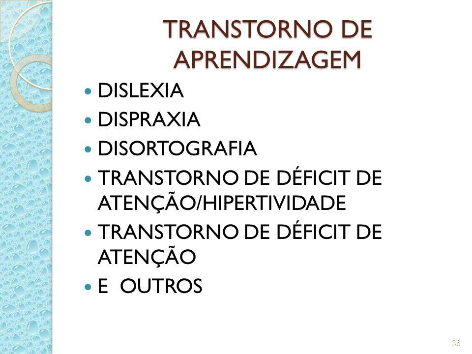 TRANSTORNO DE APRENDIZAGEM DISLEXIA DISPRAXIA DISORTOGRAFIA TRANSTORNO DE DÉFICIT DE ATENÇÃO/HIPERTIVIDADE TRANSTORNO DE DÉFICIT DE ATENÇÃO E OUTROS 36