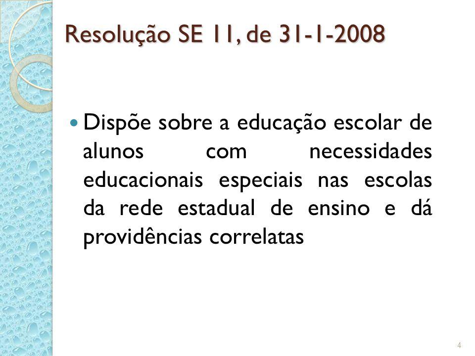 Resolução SE 11, de 31-1-2008 Dispõe sobre a educação escolar de alunos com necessidades educacionais especiais nas escolas da rede estadual de ensino