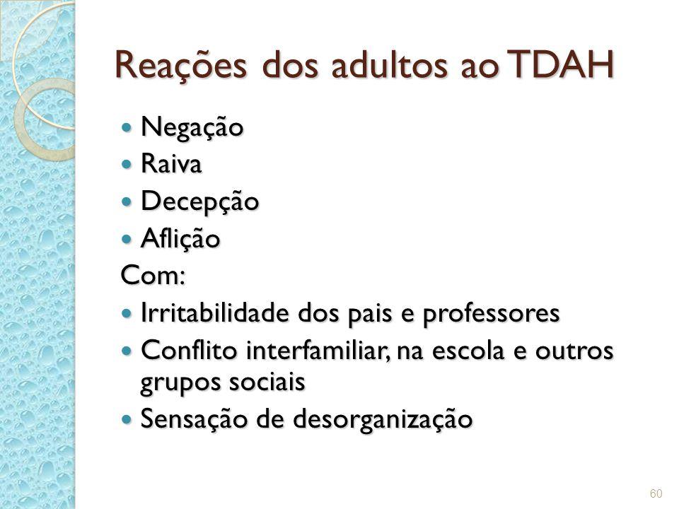 60 Reações dos adultos ao TDAH Negação Negação Raiva Raiva Decepção Decepção Aflição AfliçãoCom: Irritabilidade dos pais e professores Irritabilidade