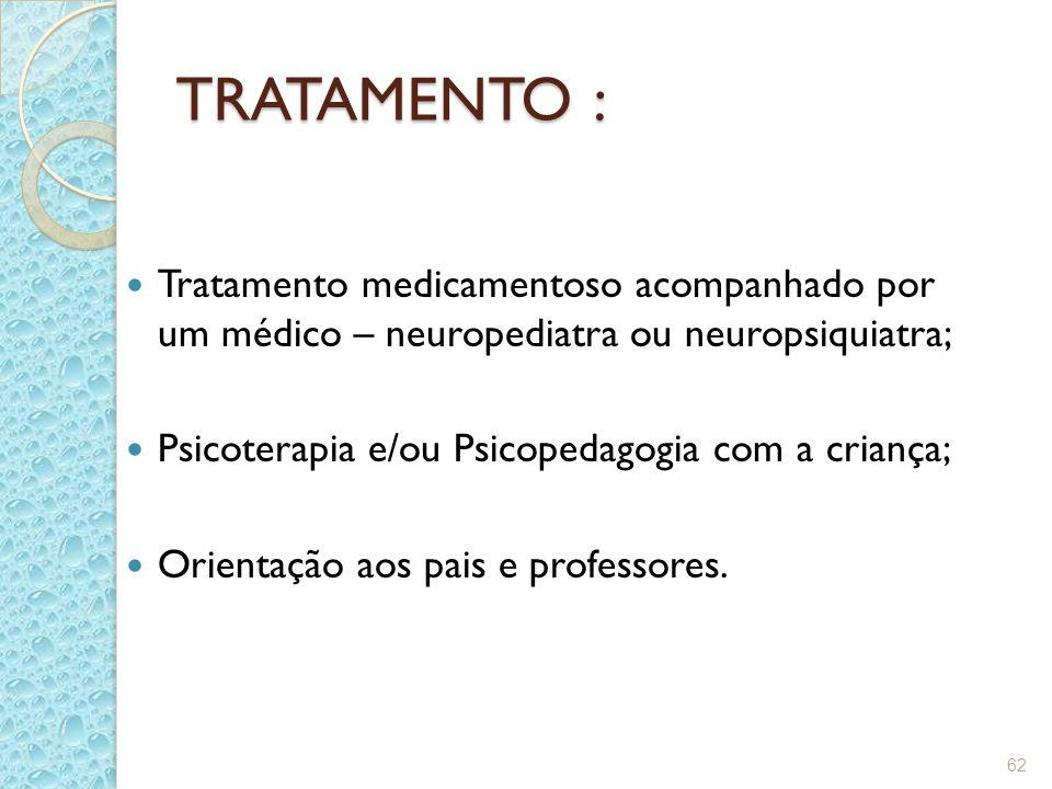 62 TRATAMENTO : Tratamento medicamentoso acompanhado por um médico – neuropediatra ou neuropsiquiatra; Psicoterapia e/ou Psicopedagogia com a criança;