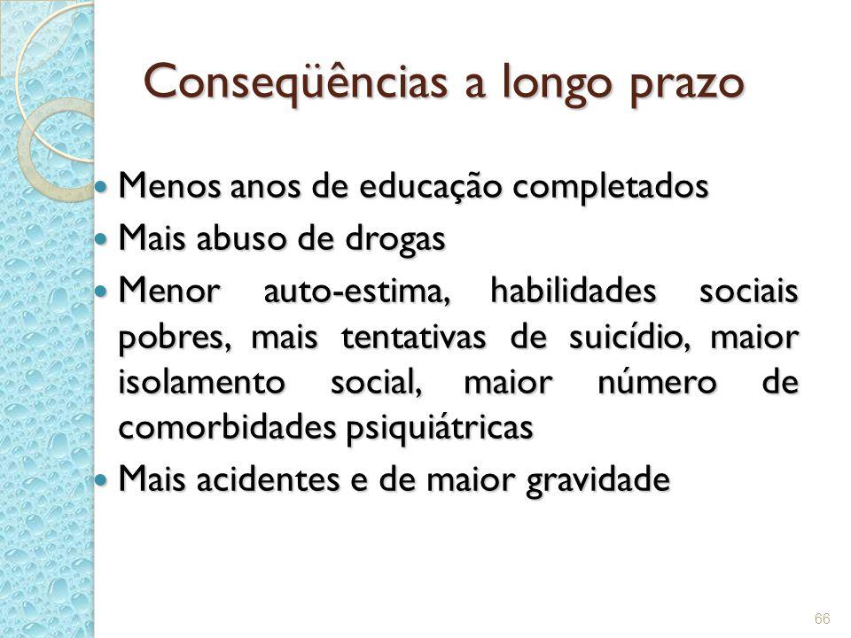 66 Conseqüências a longo prazo Menos anos de educação completados Menos anos de educação completados Mais abuso de drogas Mais abuso de drogas Menor a