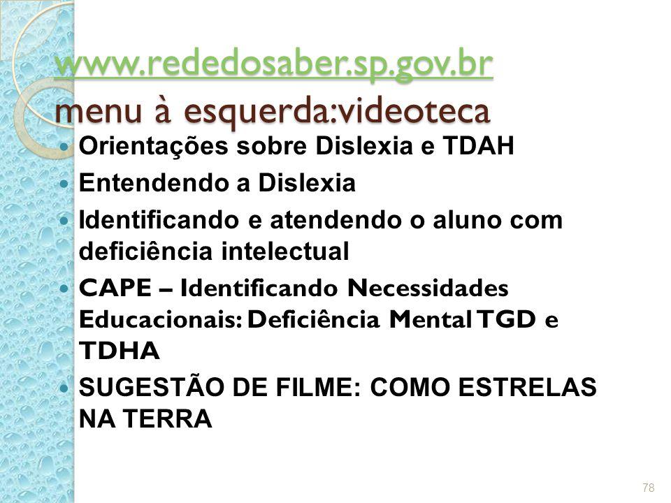 www.rededosaber.sp.gov.br www.rededosaber.sp.gov.br menu à esquerda:videoteca www.rededosaber.sp.gov.br Orientações sobre Dislexia e TDAH Entendendo a