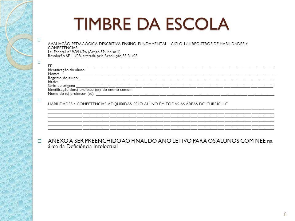 TIMBRE DA ESCOLA AVALIAÇÃO PEDAGÓGICA DESCRITIVA ENSINO FUNDAMENTAL - CICLO I / II REGISTROS DE HABILIDADES e COMPETÊNCIAS Lei Federal nº 9.394/96 (Ar