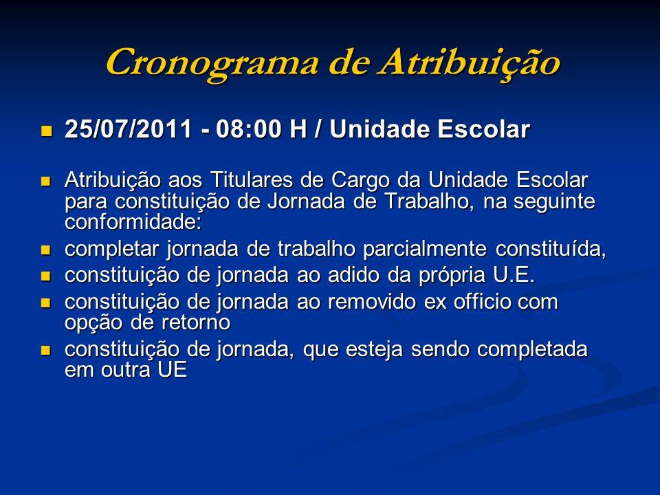 25/07/2011 Até as 11:00 H Remessa para a Comissão de Atribuição de Aulas: Remessa para a Comissão de Atribuição de Aulas: a) Quadros de Saldo de Aulas do EJA b) Ofício(s) de encaminhamento de docente(s) c) Resumo da Classificação Individual (DRHU)