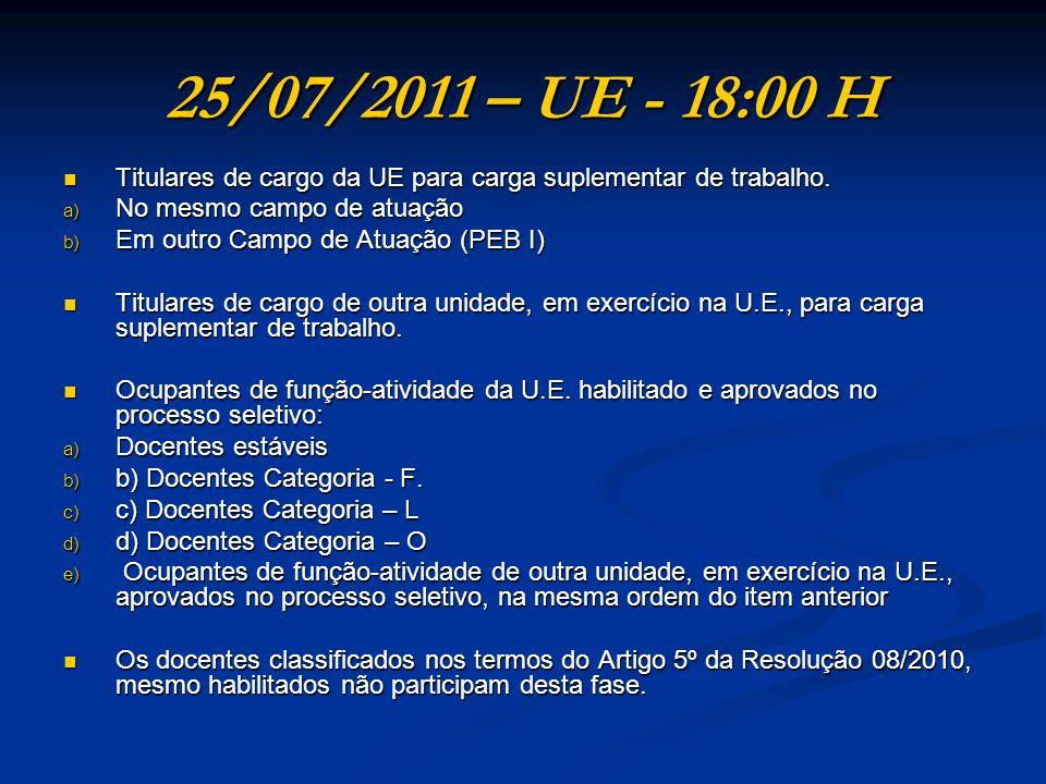 25/07/2011 – UE - 18:00 H Titulares de cargo da UE para carga suplementar de trabalho. Titulares de cargo da UE para carga suplementar de trabalho. a)