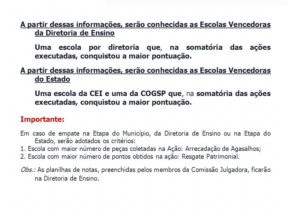 RESULTADO FINAL A SEE disponibilizará no site www.educacao.sp.gov.br/gincanadacidadania uma planilha para cada Diretoria de Ensino informar: a)O total
