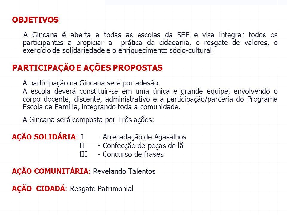 RESULTADO FINAL A SEE disponibilizará no site www.educacao.sp.gov.br/gincanadacidadania uma planilha para cada Diretoria de Ensino informar: a)O total de peças arrecadadas, por escola.