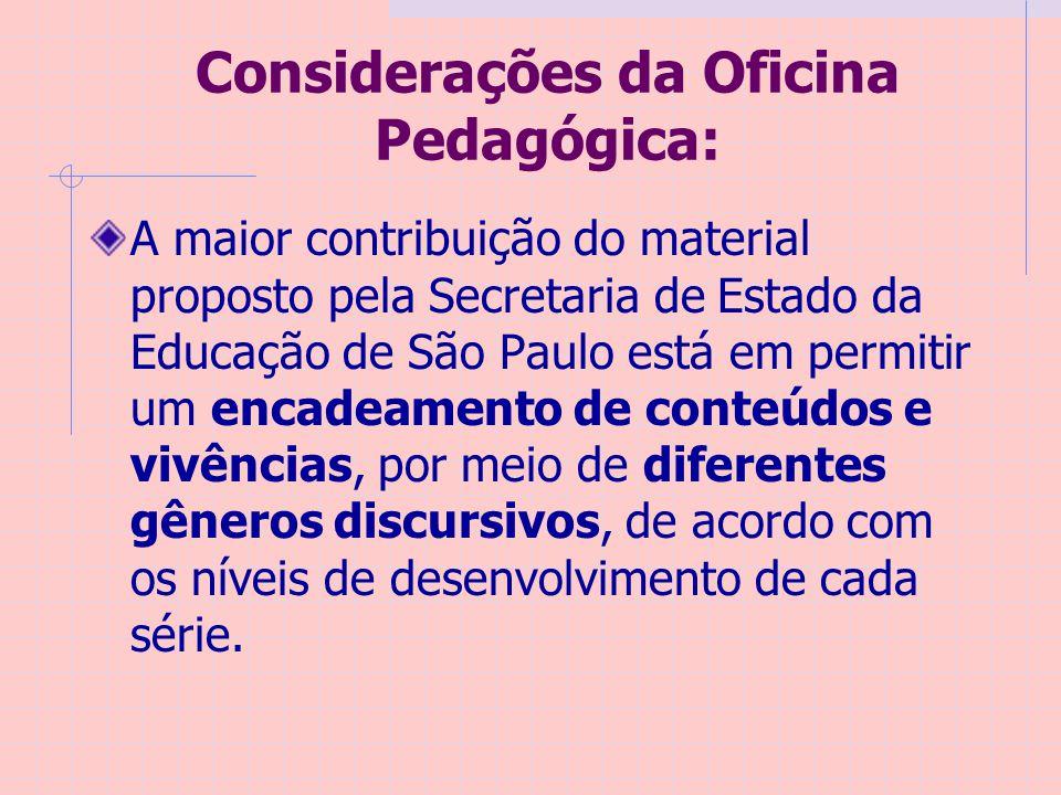 Considerações da Oficina Pedagógica: A maior contribuição do material proposto pela Secretaria de Estado da Educação de São Paulo está em permitir um encadeamento de conteúdos e vivências, por meio de diferentes gêneros discursivos, de acordo com os níveis de desenvolvimento de cada série.