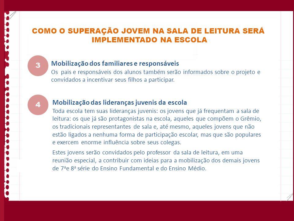 COMO O SUPERAÇÃO JOVEM NA SALA DE LEITURA SERÁ IMPLEMENTADO NA ESCOLA Mobilização dos familiares e responsáveis Os pais e responsáveis dos alunos tamb