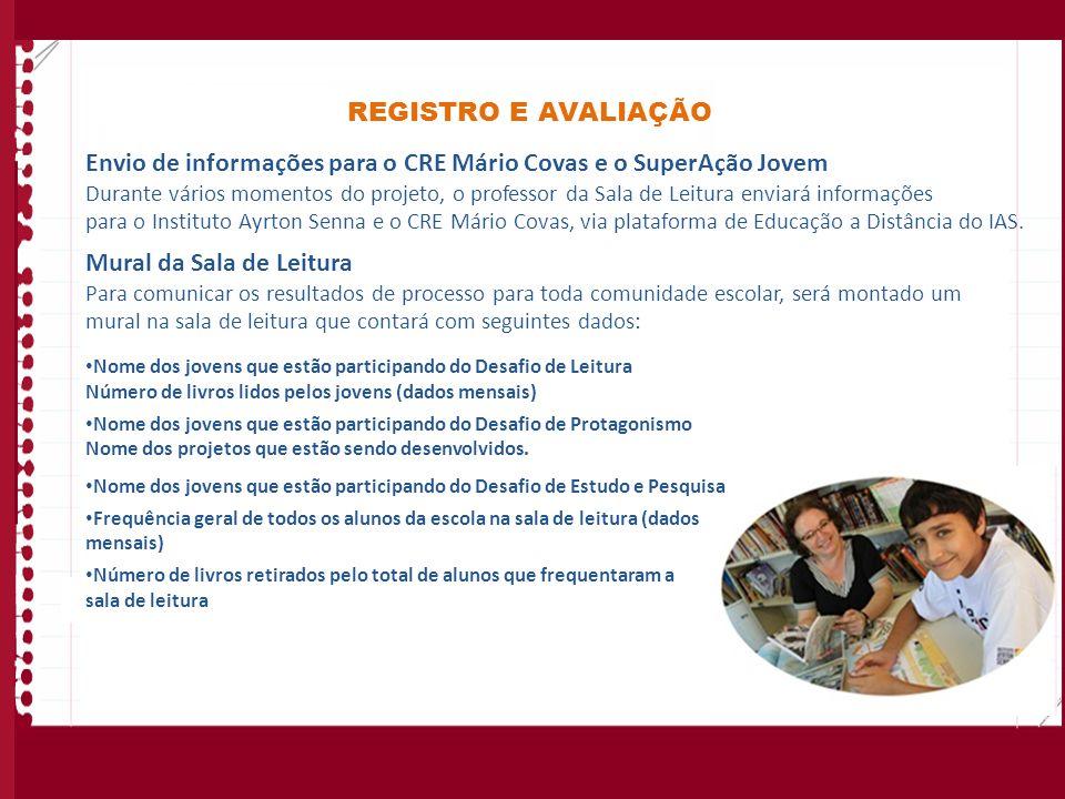 REGISTRO E AVALIAÇÃO Envio de informações para o CRE Mário Covas e o SuperAção Jovem Durante vários momentos do projeto, o professor da Sala de Leitur
