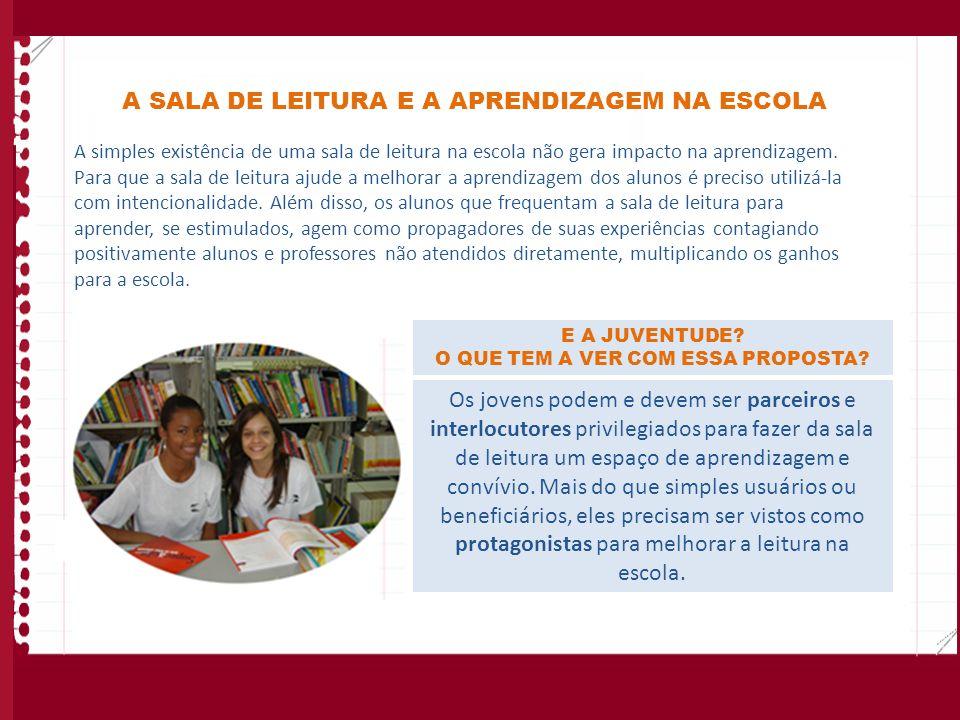 A SALA DE LEITURA E A APRENDIZAGEM NA ESCOLA A simples existência de uma sala de leitura na escola não gera impacto na aprendizagem. Para que a sala d