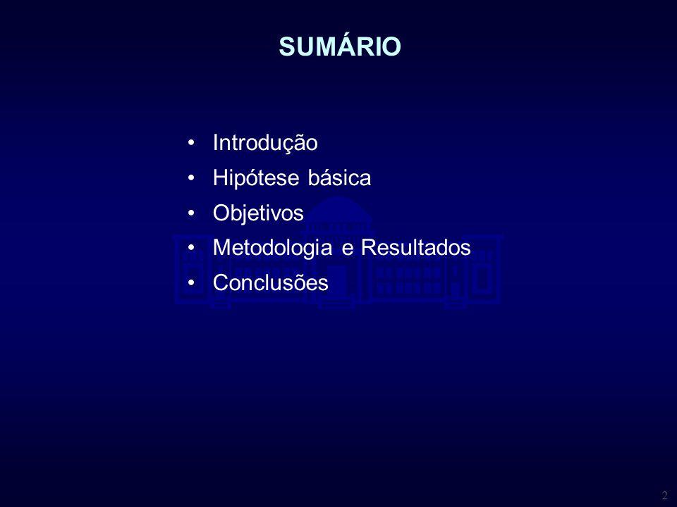 2 Introdução Hipótese básica Objetivos Metodologia e Resultados Conclusões SUMÁRIO