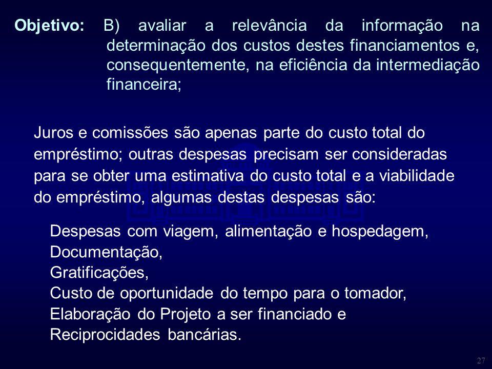 27 Objetivo: B) avaliar a relevância da informação na determinação dos custos destes financiamentos e, consequentemente, na eficiência da intermediaçã