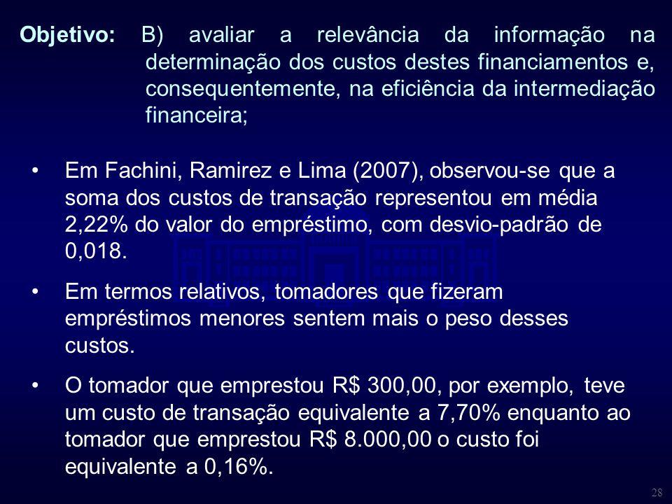 28 Objetivo: B) avaliar a relevância da informação na determinação dos custos destes financiamentos e, consequentemente, na eficiência da intermediaçã