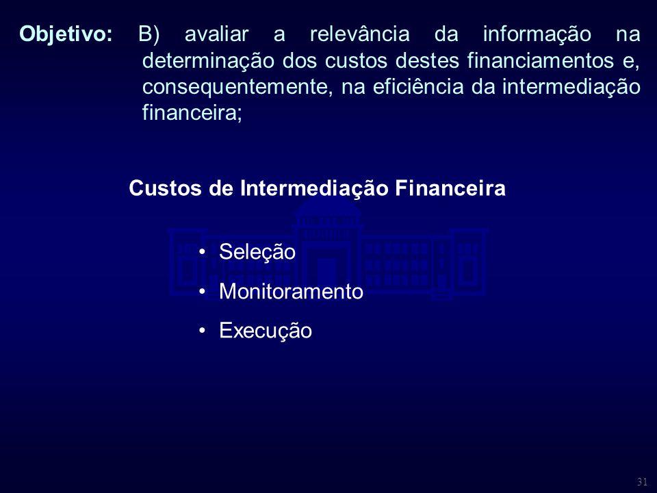 31 Objetivo: B) avaliar a relevância da informação na determinação dos custos destes financiamentos e, consequentemente, na eficiência da intermediaçã