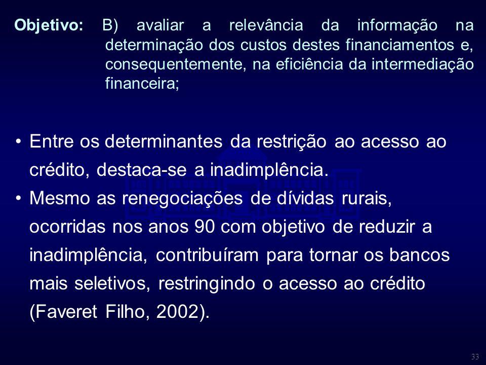 33 Objetivo: B) avaliar a relevância da informação na determinação dos custos destes financiamentos e, consequentemente, na eficiência da intermediaçã