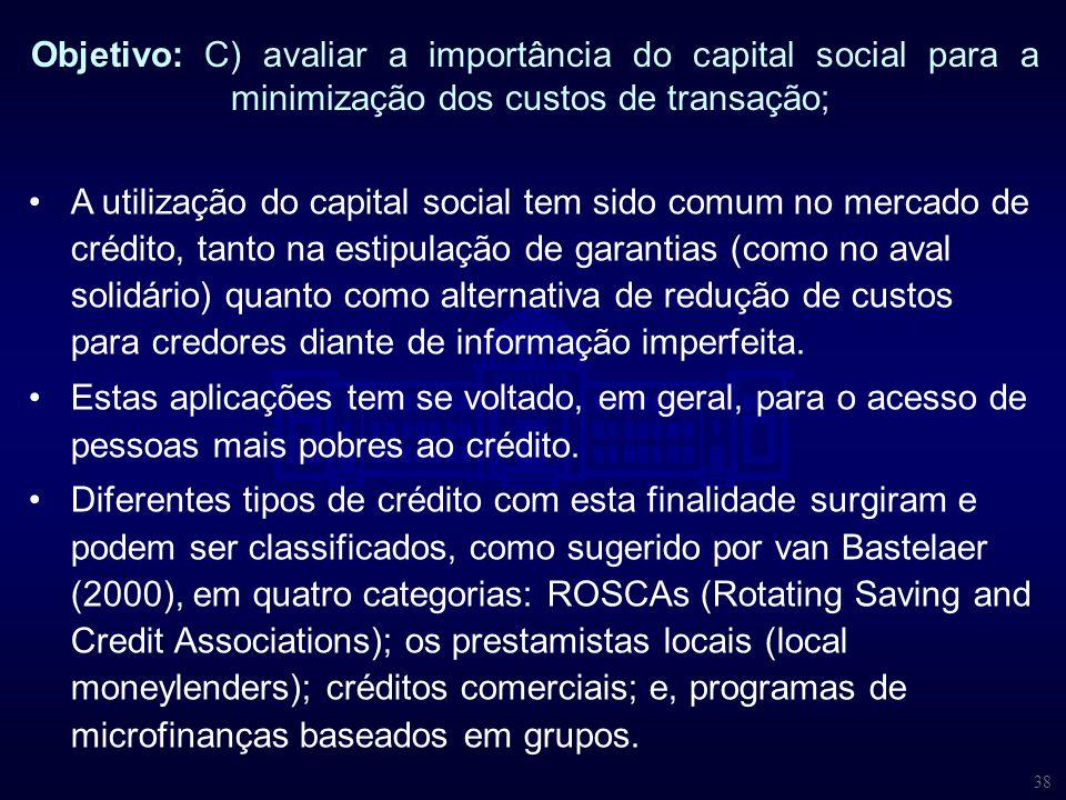 38 Objetivo: C) avaliar a importância do capital social para a minimização dos custos de transação; A utilização do capital social tem sido comum no m