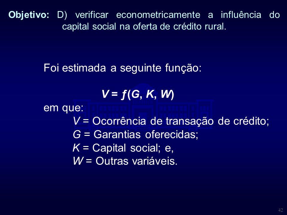 42 Objetivo: D) verificar econometricamente a influência do capital social na oferta de crédito rural. Foi estimada a seguinte função: V = ƒ(G, K, W)
