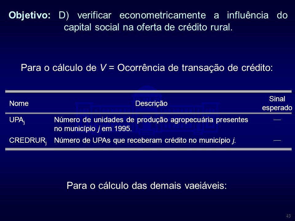 43 Objetivo: D) verificar econometricamente a influência do capital social na oferta de crédito rural. NomeDescrição Sinal esperado UPA j Número de un