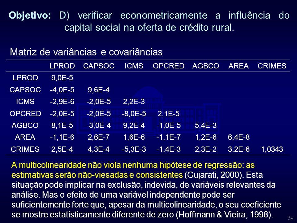 54 Objetivo: D) verificar econometricamente a influência do capital social na oferta de crédito rural. Matriz de variâncias e covariâncias LPROD CAPSO