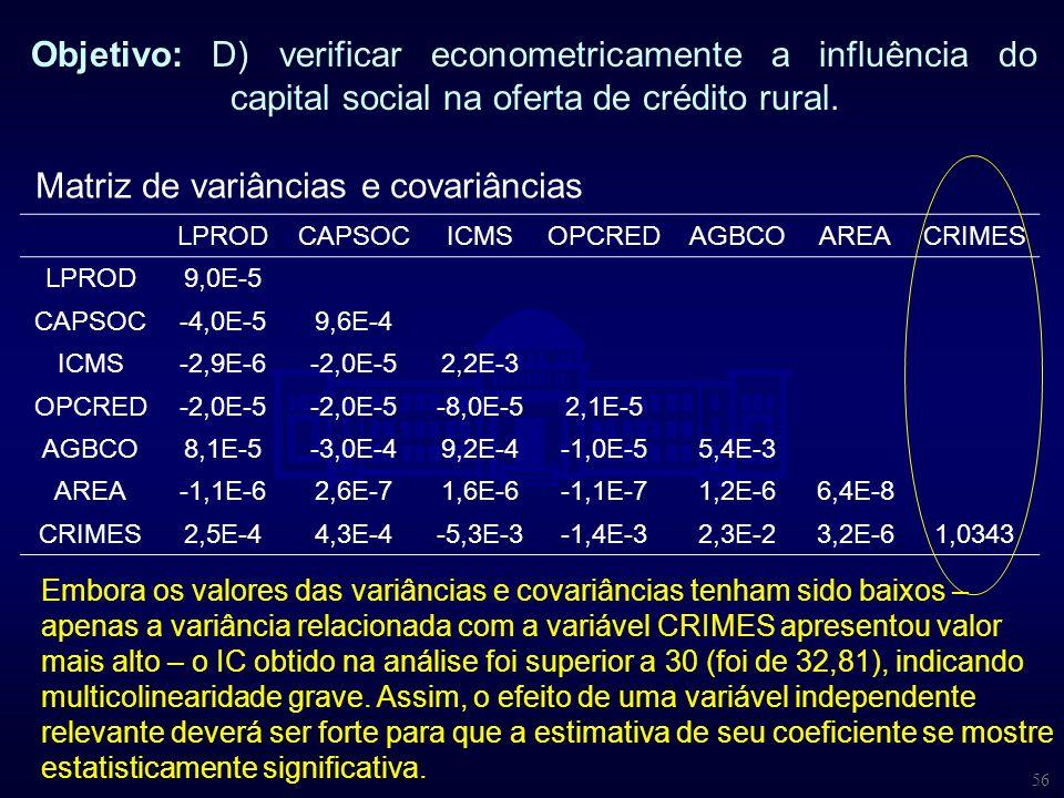56 Objetivo: D) verificar econometricamente a influência do capital social na oferta de crédito rural. Matriz de variâncias e covariâncias LPROD CAPSO