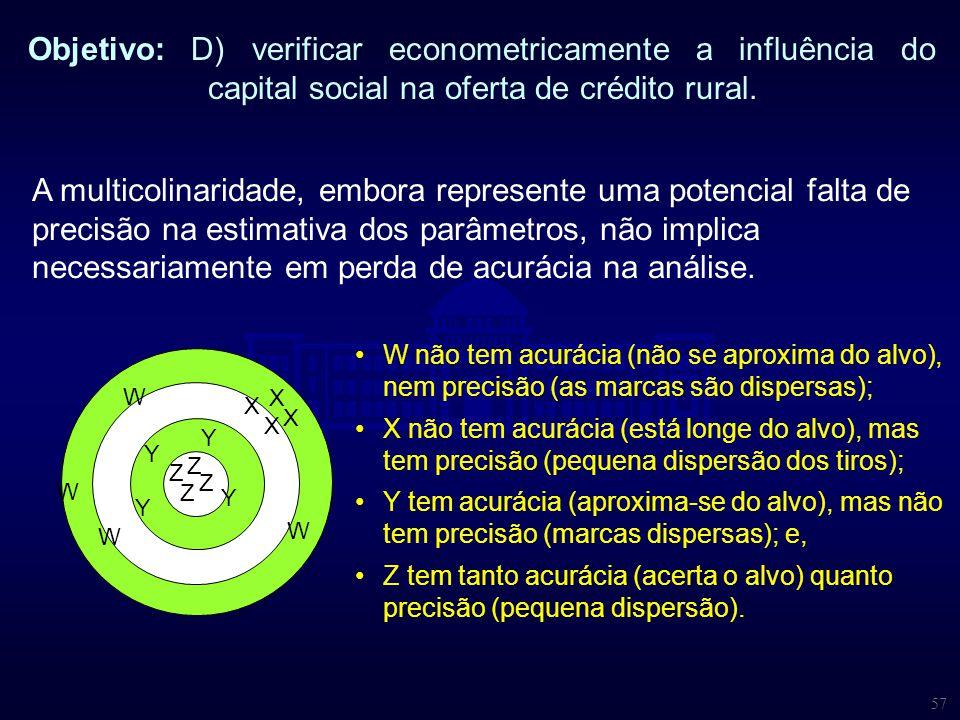 57 Objetivo: D) verificar econometricamente a influência do capital social na oferta de crédito rural. A multicolinaridade, embora represente uma pote