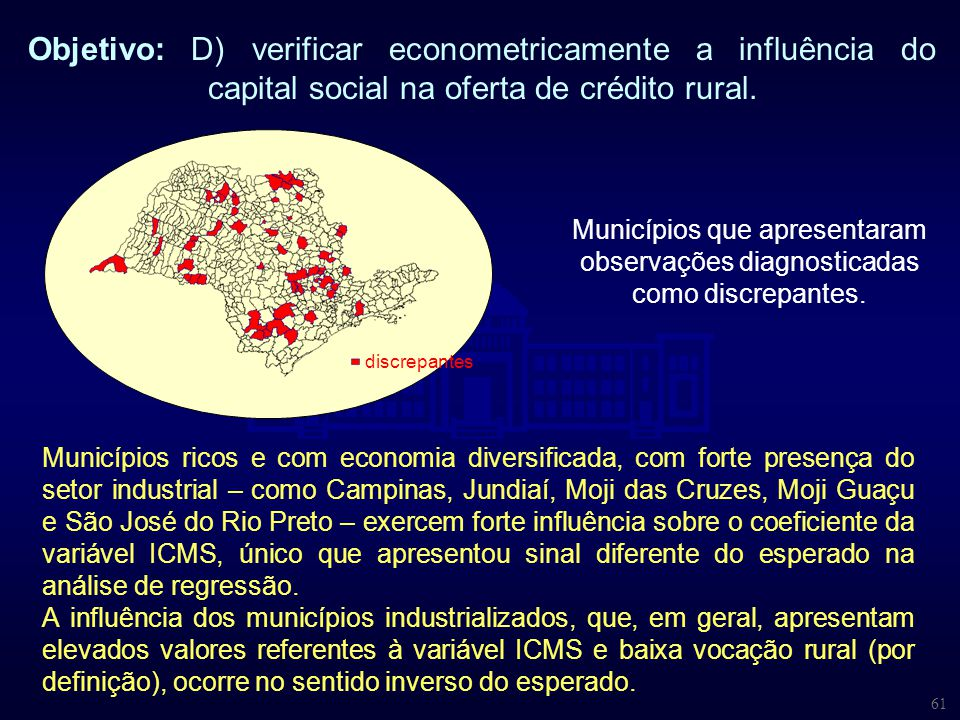 61 Objetivo: D) verificar econometricamente a influência do capital social na oferta de crédito rural. Municípios ricos e com economia diversificada,
