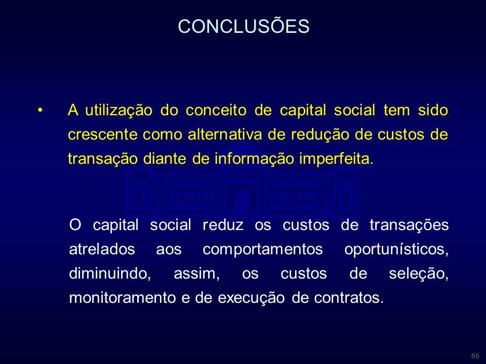 66 CONCLUSÕES O capital social reduz os custos de transações atrelados aos comportamentos oportunísticos, diminuindo, assim, os custos de seleção, mon