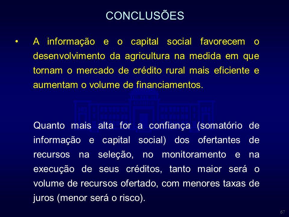 67 CONCLUSÕES Quanto mais alta for a confiança (somatório de informação e capital social) dos ofertantes de recursos na seleção, no monitoramento e na