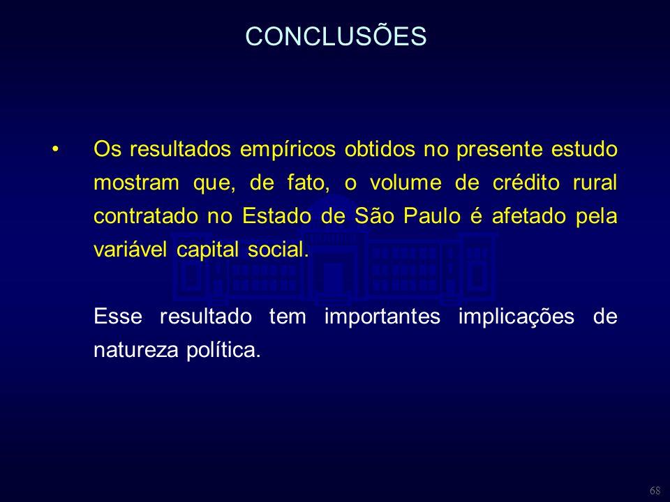 68 CONCLUSÕES Os resultados empíricos obtidos no presente estudo mostram que, de fato, o volume de crédito rural contratado no Estado de São Paulo é a