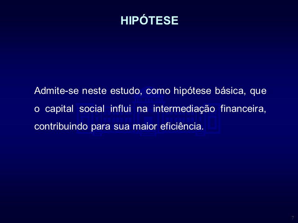 7 Admite-se neste estudo, como hipótese básica, que o capital social influi na intermediação financeira, contribuindo para sua maior eficiência. HIPÓT