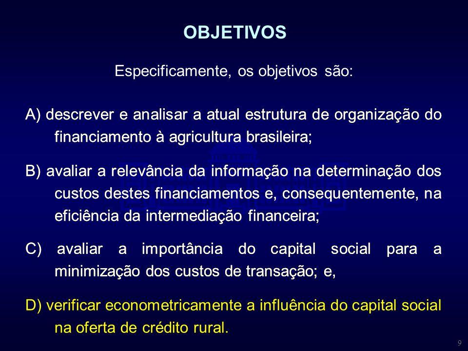 9 Especificamente, os objetivos são: OBJETIVOS A) descrever e analisar a atual estrutura de organização do financiamento à agricultura brasileira; B)