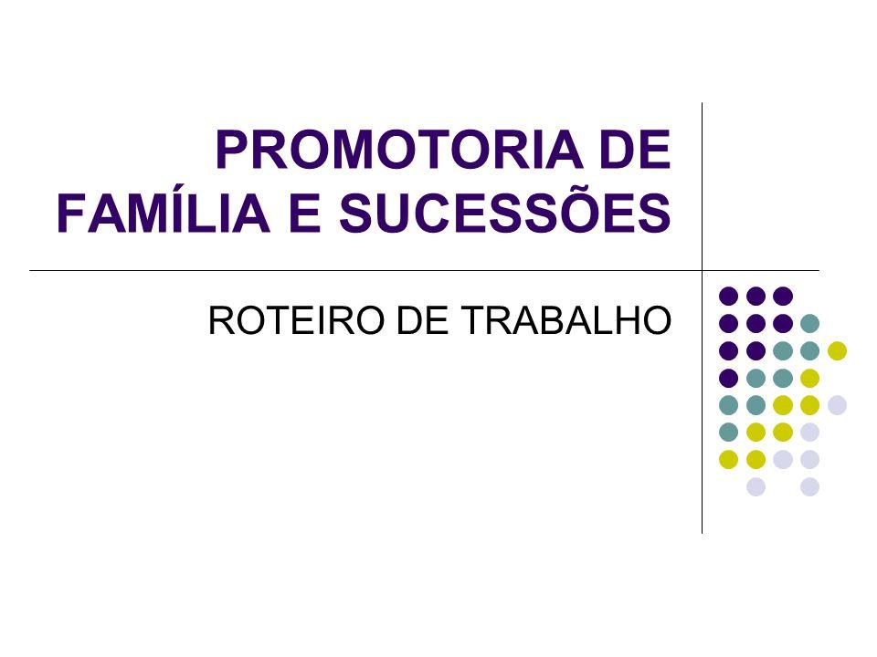 PROMOTORIA DE FAMÍLIA E SUCESSÕES ROTEIRO DE TRABALHO