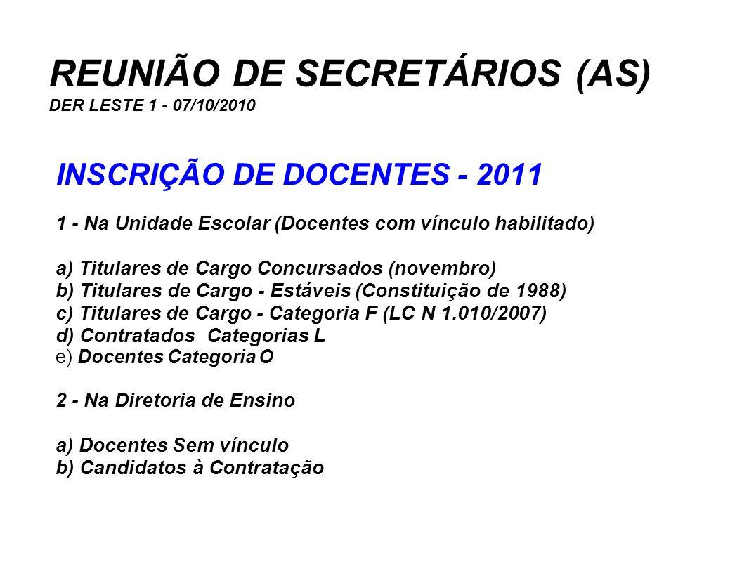 REUNIÃO DE SECRETÁRIOS (AS) DER LESTE 1 - 07/10/2010 INSCRIÇÃO DE DOCENTES - 2011 1 - Na Unidade Escolar (Docentes com vínculo habilitado) a) Titulare
