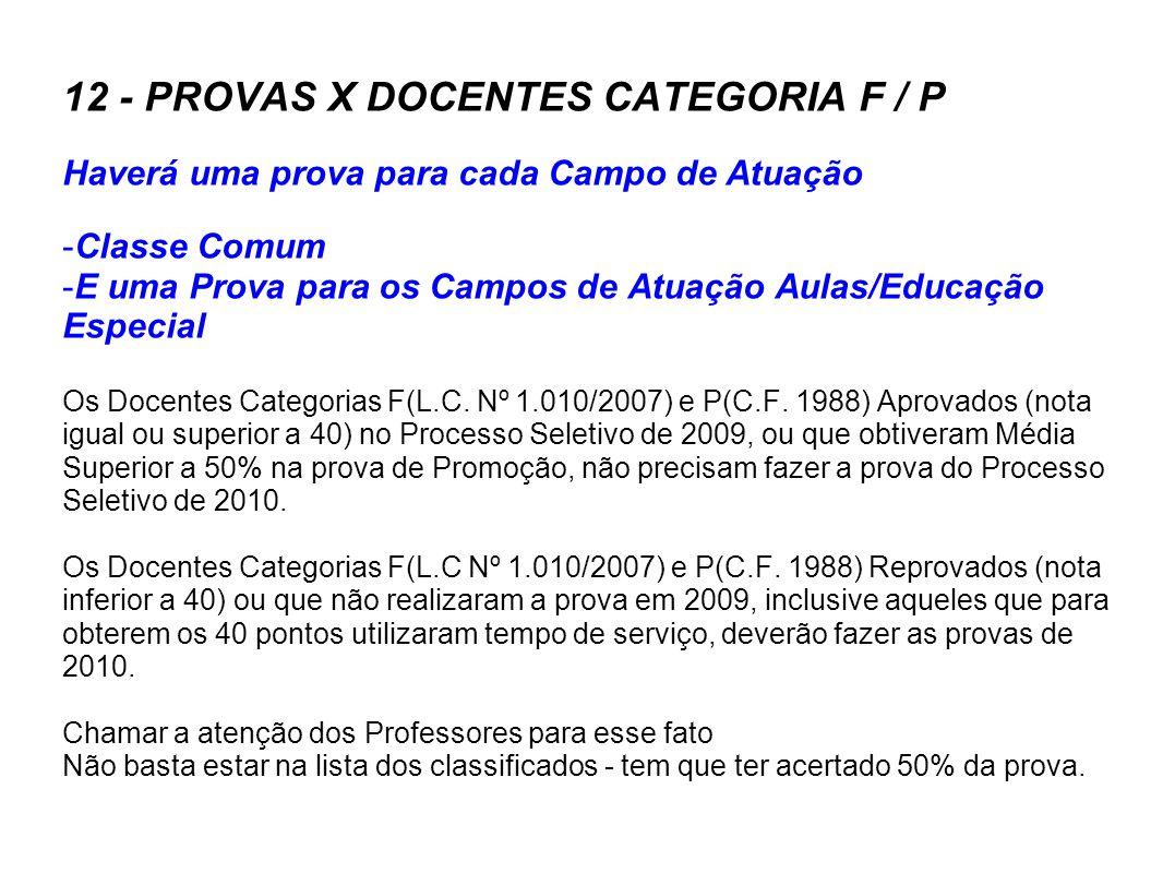 12 - PROVAS X DOCENTES CATEGORIA F / P Haverá uma prova para cada Campo de Atuação -Classe Comum -E uma Prova para os Campos de Atuação Aulas/Educação