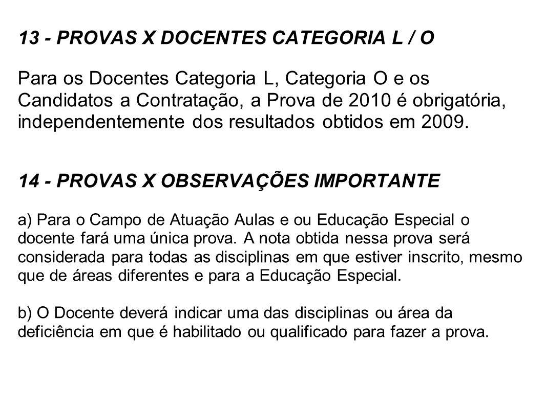 13 - PROVAS X DOCENTES CATEGORIA L / O Para os Docentes Categoria L, Categoria O e os Candidatos a Contratação, a Prova de 2010 é obrigatória, indepen
