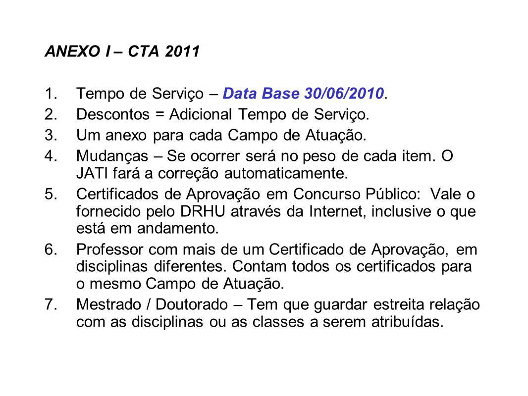 ANEXO I – CTA 2011 1.Tempo de Serviço – Data Base 30/06/2010. 2.Descontos = Adicional Tempo de Serviço. 3.Um anexo para cada Campo de Atuação. 4.Mudan