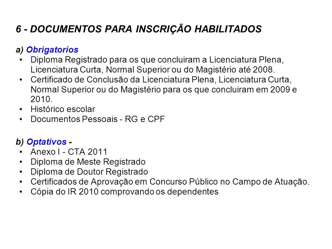 6 - DOCUMENTOS PARA INSCRIÇÃO HABILITADOS a) Obrigatorios Diploma Registrado para os que concluiram a Licenciatura Plena, Licenciatura Curta, Normal S