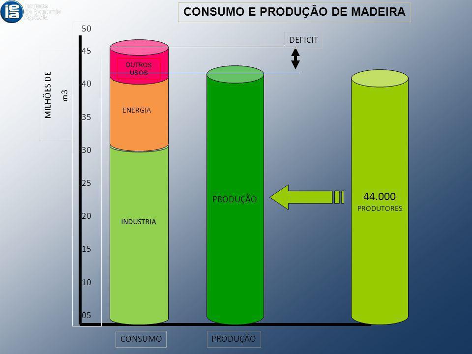 MILHÕES DE m3 50 45 40 35 30 25 20 15 10 05 PRODUÇÃO CONSUMOPRODUÇÃO INDUSTRIA ENERGIA OUTROS USOS DEFICIT CONSUMO E PRODUÇÃO DE MADEIRA 44.000 PRODUT