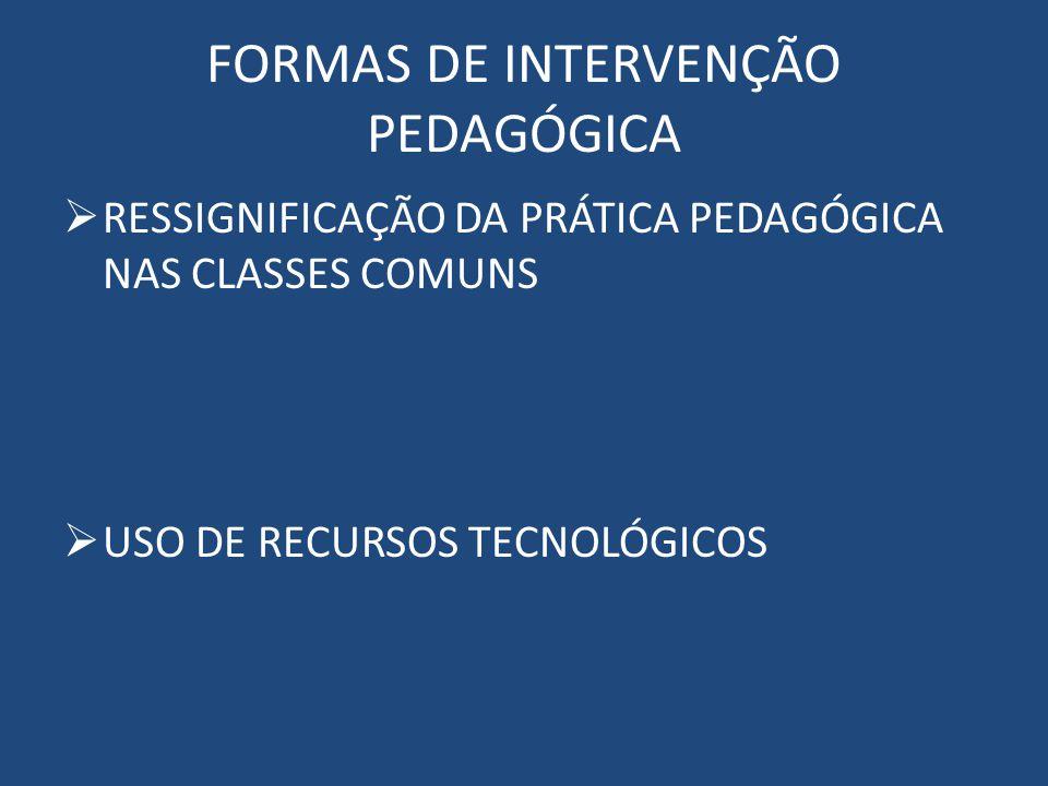FORMAS DE INTERVENÇÃO PEDAGÓGICA RESSIGNIFICAÇÃO DA PRÁTICA PEDAGÓGICA NAS CLASSES COMUNS USO DE RECURSOS TECNOLÓGICOS