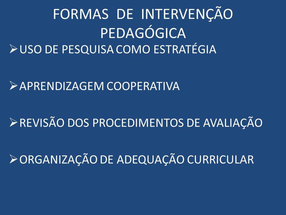 FORMAS DE INTERVENÇÃO PEDAGÓGICA USO DE PESQUISA COMO ESTRATÉGIA APRENDIZAGEM COOPERATIVA REVISÃO DOS PROCEDIMENTOS DE AVALIAÇÃO ORGANIZAÇÃO DE ADEQUAÇÃO CURRICULAR