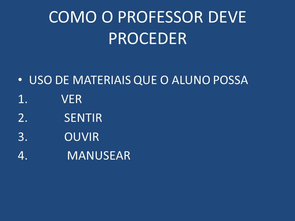 COMO O PROFESSOR DEVE PROCEDER USO DE MATERIAIS QUE O ALUNO POSSA 1.