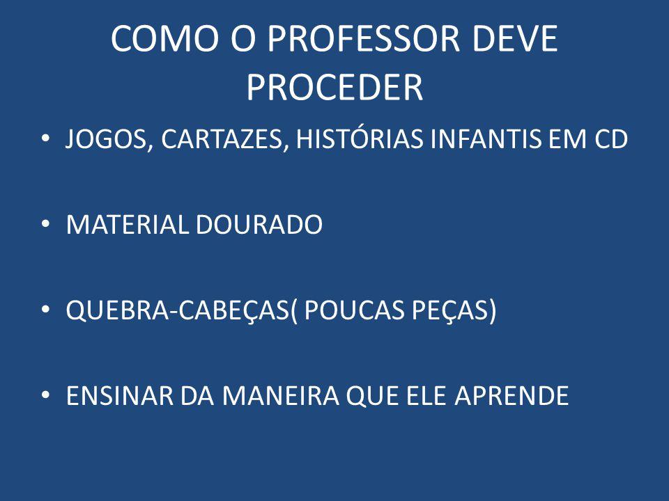 COMO O PROFESSOR DEVE PROCEDER JOGOS, CARTAZES, HISTÓRIAS INFANTIS EM CD MATERIAL DOURADO QUEBRA-CABEÇAS( POUCAS PEÇAS) ENSINAR DA MANEIRA QUE ELE APRENDE